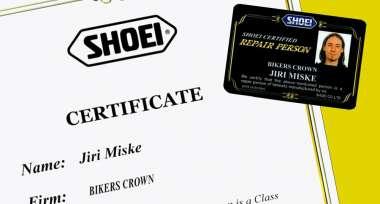Bikers Crown byl udělen certifikát SHOEI!